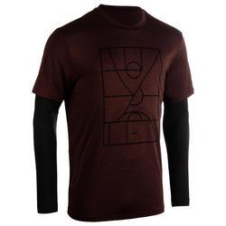 男款假兩件籃球T恤900-酒紅色球場圖案