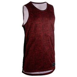 男款籃球運動衫/背心T500-紅黑配色