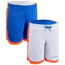 兒童款中階雙面籃球短褲SH500R-藍色/白色/橘色