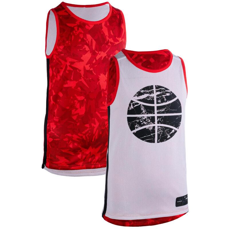 Dětský basketbalový oboustranný dres T500 červeno-bílý s míčem