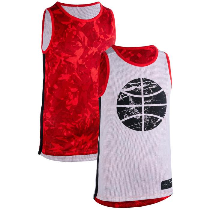 Basketballtrikot wendbar T500R Kinder rot/weiß Ball