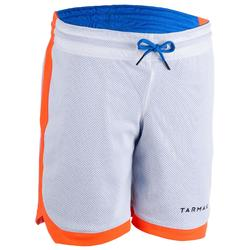 SHORT DE BASKET REVERSIBLE POUR GARCON/FILLE CONFIRME(E) BLEU BLC ORANGE SH500R