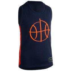 兒童款中階籃球背心T500-軍藍色/橘色