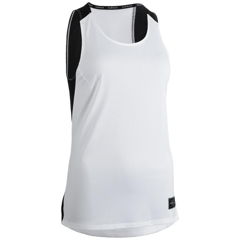 Dámské basketbalové tílko T500 bílo-černé