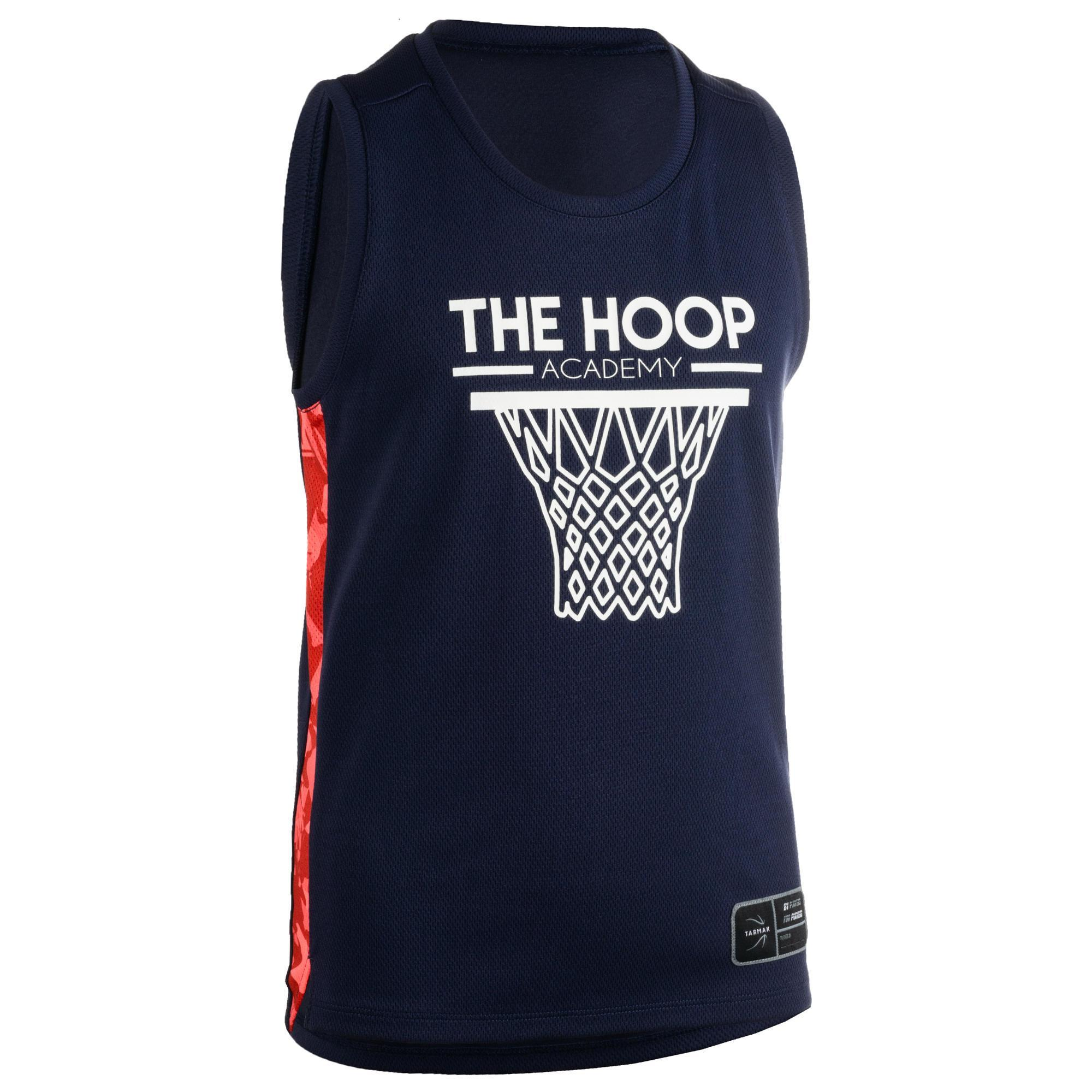 Tarmak Basketbalshirt T500 marineblauw/roze (kinderen)