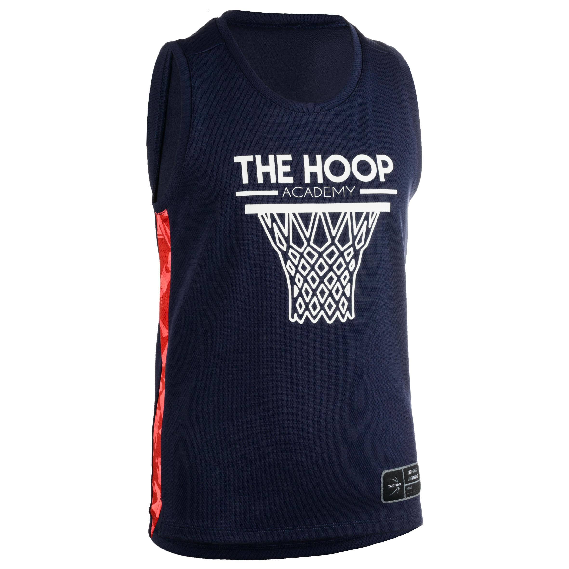 Tarmak Basketbalshirt voor gevorderde jongens/meisjes marineblauw roze T500
