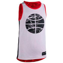 T500R Boys'/Girls' Intermediate Basketball Reversible Jersey - Merah/Putih