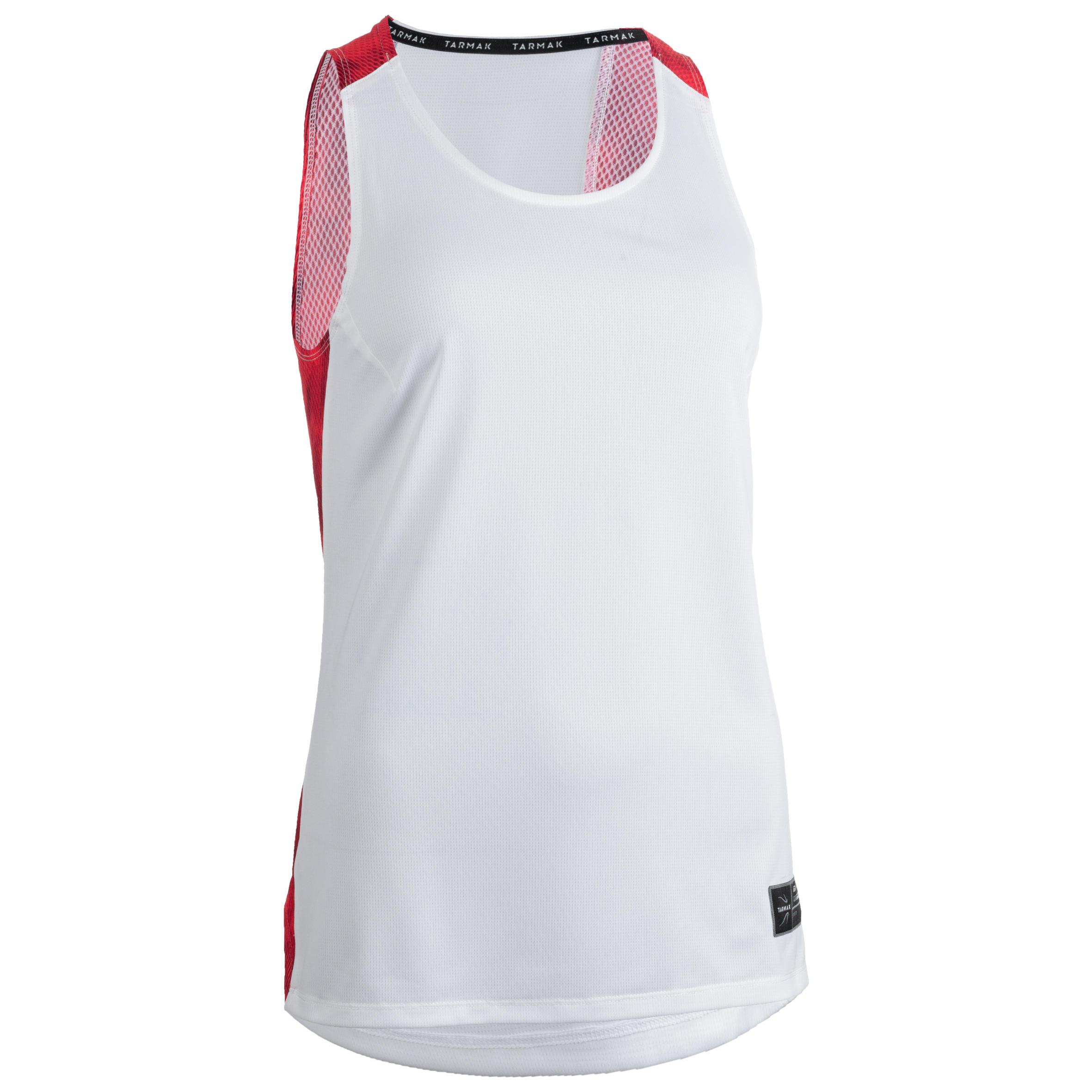 Tarmak Basketbalshirt voor dames wit roze T500