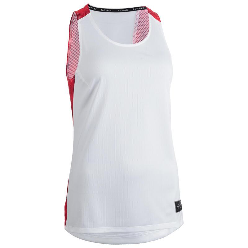 Dámské basketbalové tílko T500 bílo-růžové