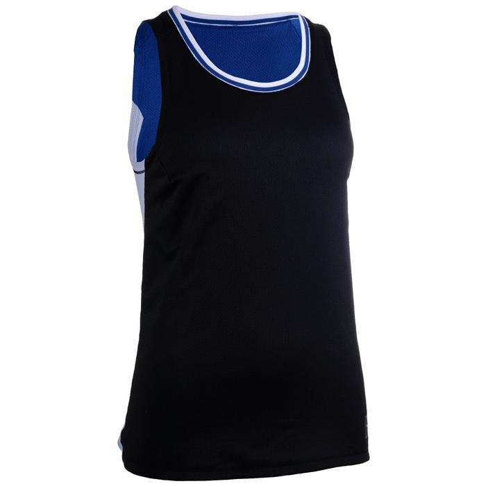 女款雙面籃球背心T500R-藍色/黑色
