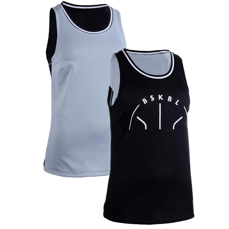Dámský basketbalový oboustranný dres T500R černo-šedý