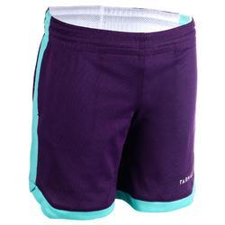 SH500R Boys'/Girls' Intermediate Basketball Reversible Shorts - Purple/White