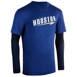 Basketbalshirt voor heren 900 geïntegreerde sleeves marineblauw Houston
