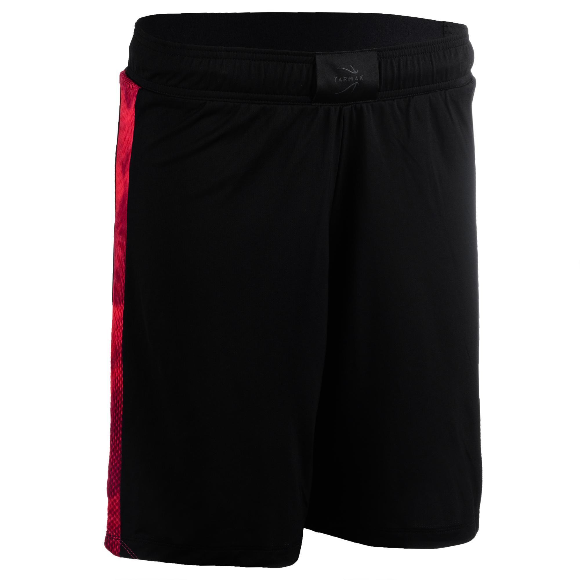 Short de basketball femme noir rose sh500 tarmak