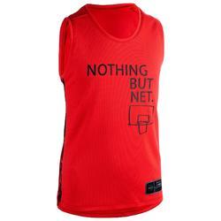 兒童款中階籃球背心T500-紅色