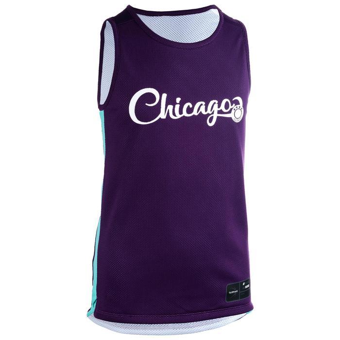 T500R Boys'/Girls' Intermediate Basketball Reversible Jersey - Purple/Chicago