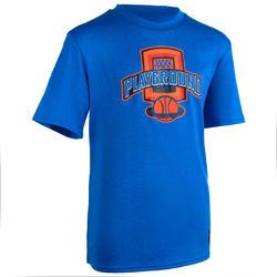 兒童款中階籃球T恤TS500-藍色/Playground款