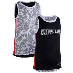 Basketbalshirt omkeerbaar jongens/meisjes gevorderde grijs/zwart Clev T500R