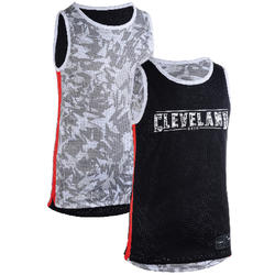 T500R Boys'/Girls' Intermediate Basketball Reversible Jersey - Grey/Black Clev