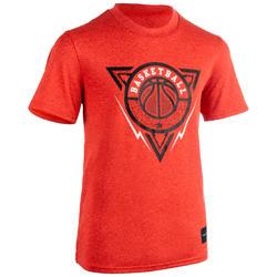 兒童款中階籃球T恤TS500-紅色/Triangle款