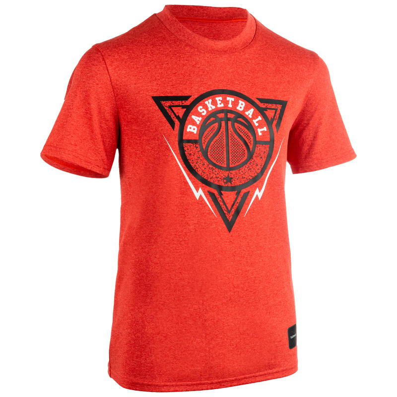 TS500 Boys'/Girls' Intermediate Basketball T-Shirt - Red/Triangle