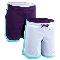 兒童款中階雙面籃球短褲SH500R-紫色/白色