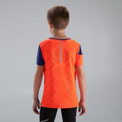 Laufshirt kurzarm Kiprun Kinder blau/orange