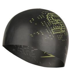 Keerbare siliconen badmuts zwart/geel - 156554