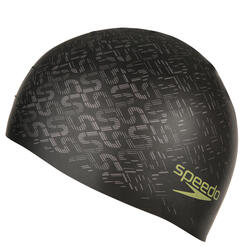 Keerbare siliconen badmuts zwart/geel - 156564