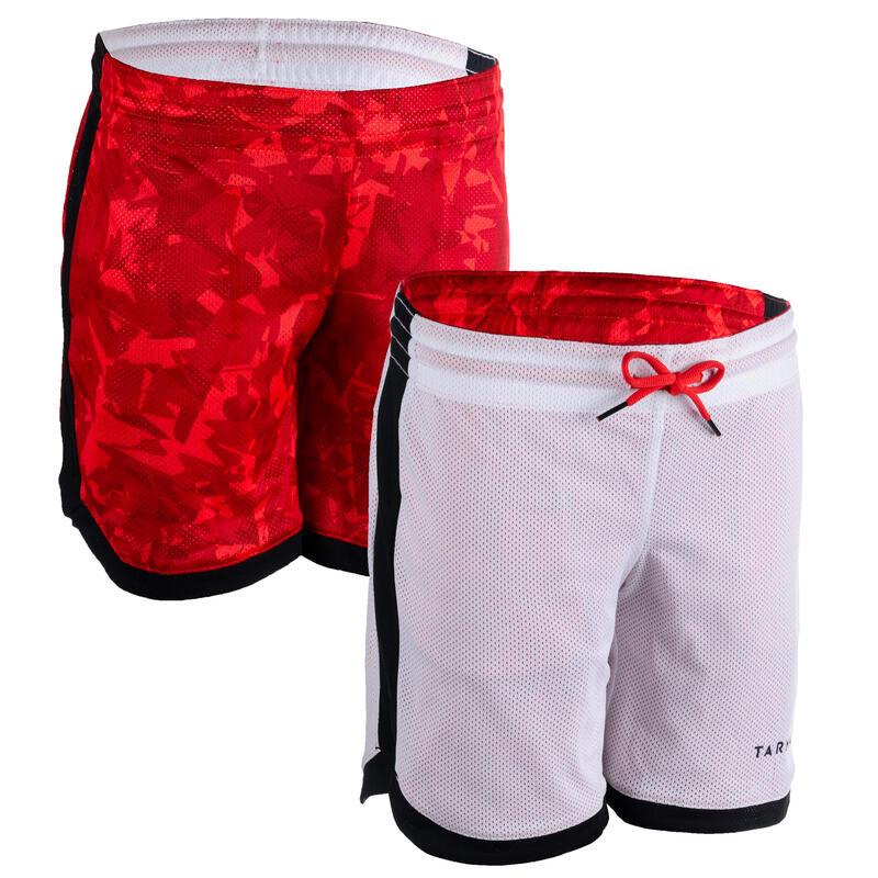 Dětské basketbalové oboustranné kraťasy SH500R BLC červeno-bílé
