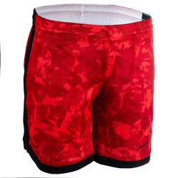 Basketbalshort SH500R reversible rood/print/wit (kinderen)