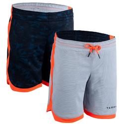 兒童款中階雙面籃球短褲SH500R-灰色/軍藍色印花