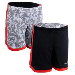 兒童款中階雙面籃球短褲SH500R-黑色/白色印花