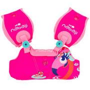 Rožnat plavalni obroč z rokavčki s potiskom flaminga TISWIM za otroke