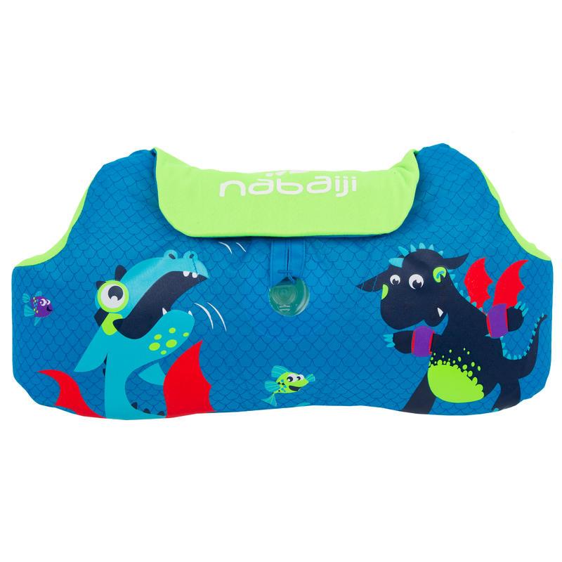 ห่วงยางสวมแขนและคาดเอวเพื่อการพัฒนาทักษะการว่ายน้ำสำหรับเด็กรุ่น TISWIM (สีฟ้า พิมพ์ลายมังกร)