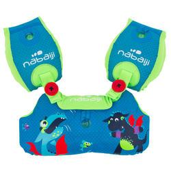 Meegroeiende zwemhulp voor kinderen TISWIM blauw met drakenprint