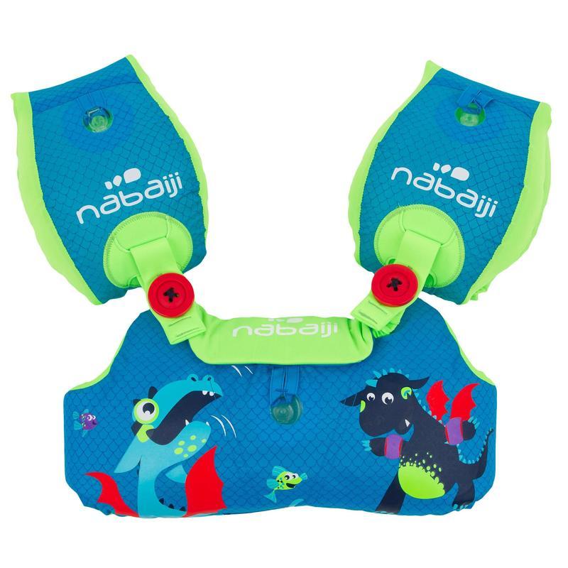 Centură cu aripioare înot TISWIM Imprimeu Dragon Albastru Copii 2-6 ani