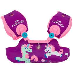 Schwimmflügel-Gurt Tiswim Kinder 15–30kg Print Einhorn violett