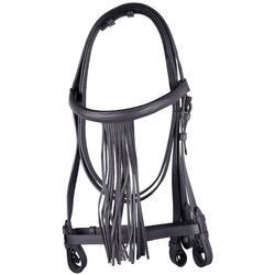 Cabezada Equitación Zaldi Caballo Negro De Cuero