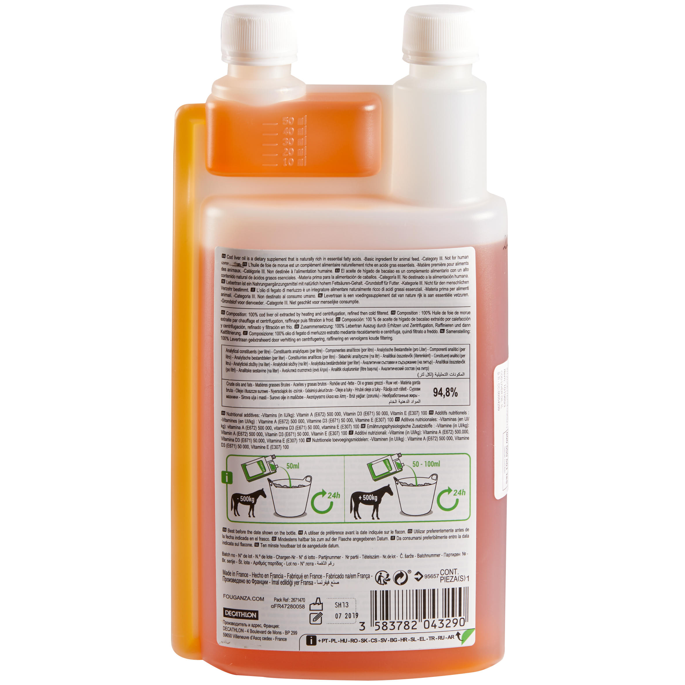 Cod Liver Oil Feed Supplement for Horses and Ponies - 1 L