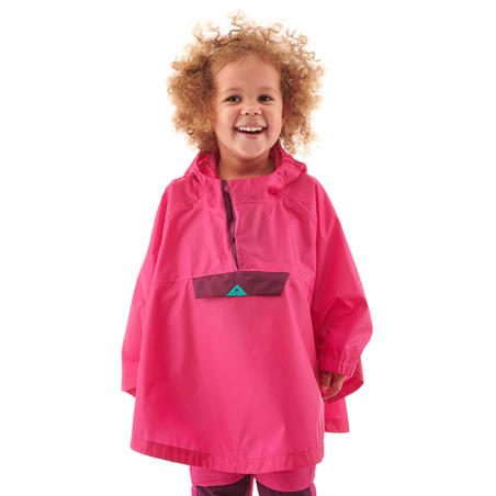 Poncho Hiking Tahan Air Anak-anak - MH100 KID - Pink