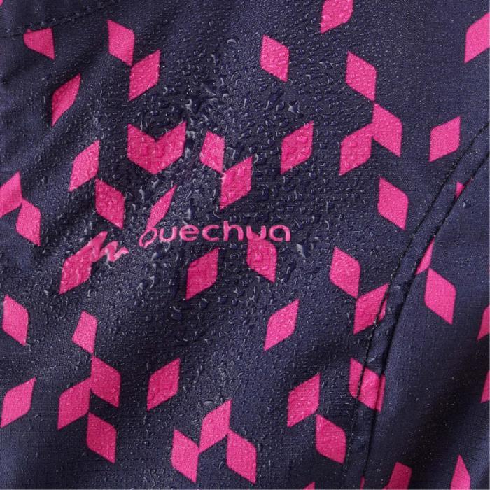 Veste imperméable de randonnée enfant MH500 bleue marine et rose