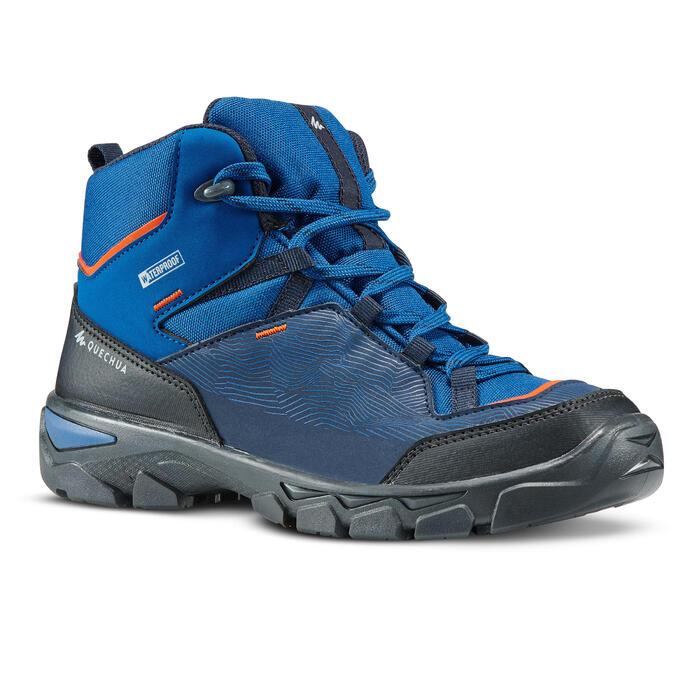 Waterdichte wandelschoenen voor kinderen MH120 MID blauw 35 tot 38