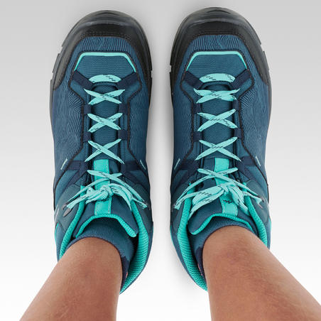 Chidren's waterproof walking shoes - MH120 MID Turquoise - size 3-5