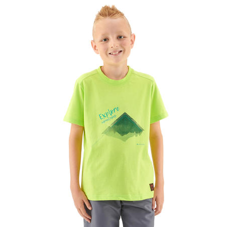 Дитяча футболка 100 для туризму - Зелена з принтом