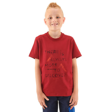 Kids' Hiking T-shirt MH100 - Burgundy Red 7-15 YEARS