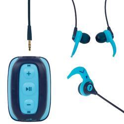 MP3-Player wasserdicht SwimMusic 100 V2 blau mit Kopfhörern