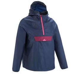 Veste de pluie de randonnée pour enfant MH100 bleue marine et rose