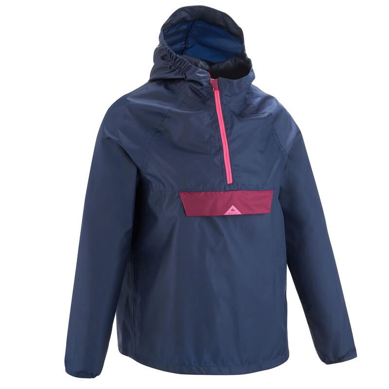 Children's hiking raincoat MH100 navy and pink ages 7-15