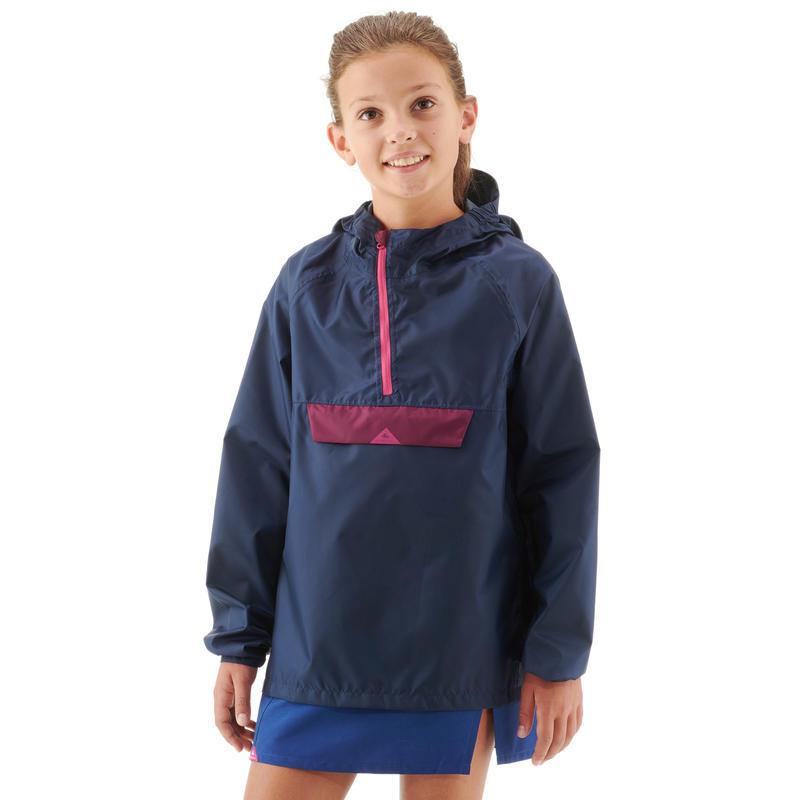 Veste imperméable enfant de randonnée MH100 bleue marine et rose